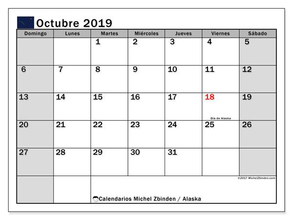 Calendario octubre 2019, con días feriados en Alaska. Calendario para imprimir gratis con días festivos.
