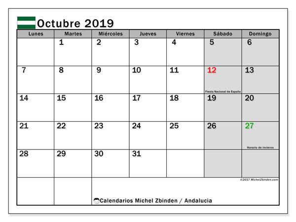 Calendario octubre 2019, con días feriados en Andalucía. Calendario para imprimir gratis con días festivos.