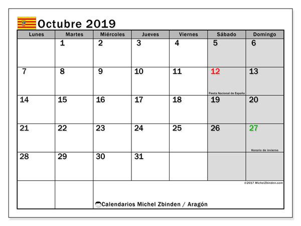 Calendario octubre 2019, con días feriados de Aragón. Calendario vacaciones y festivos para imprimir gratis.
