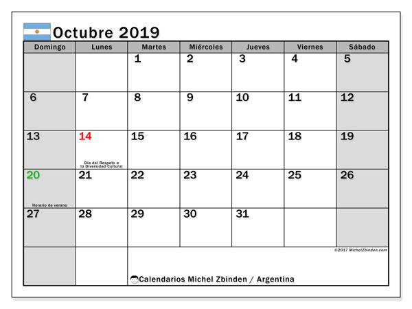 Calendario octubre 2019, con días feriados en Argentina. Calendario vacaciones y festivos para imprimir gratis.