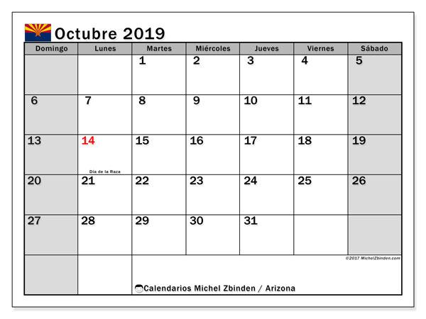 Calendario octubre 2019, con días feriados en Arizona. Calendario vacaciones y festivos para imprimir gratis.