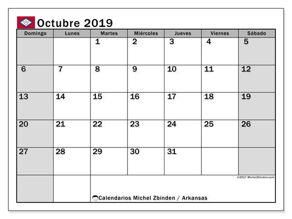Calendario octubre 2019, con días feriados de Arkansas. Calendario vacaciones y festivos para imprimir gratis.