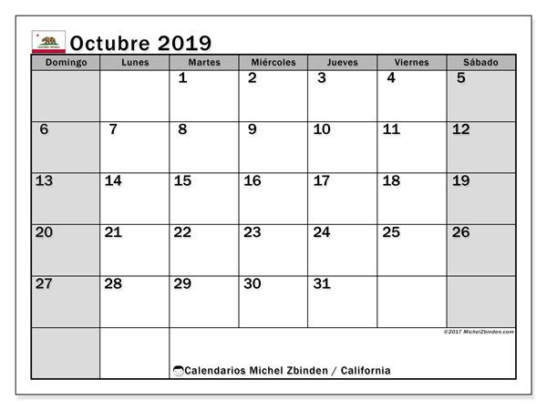 Calendario octubre 2019, con días feriados de California. Calendario para imprimir gratis con días festivos.