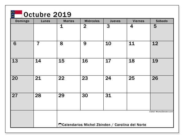 Calendario octubre 2019, con días feriados en Carolina del Norte. Calendario para imprimir gratis con días festivos.