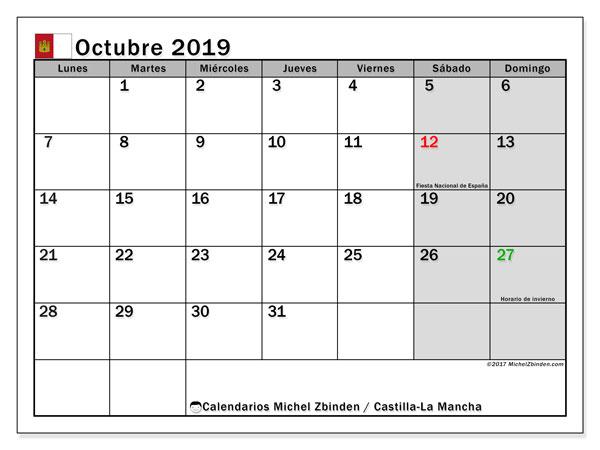 Calendario octubre 2019, con días feriados en Castilla-La Mancha. Calendario vacaciones y festivos para imprimir gratis.
