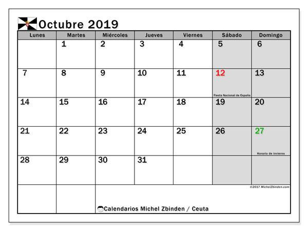 Calendario octubre 2019, con días feriados en Ceuta. Calendario vacaciones y festivos para imprimir gratis.