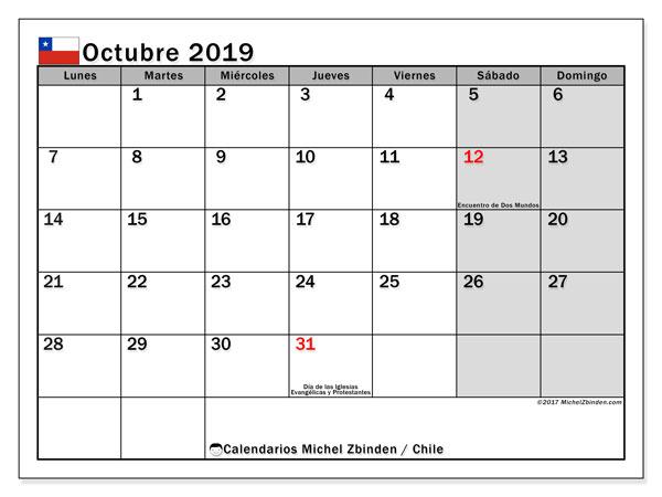 Calendario octubre 2019, con los días feriados para Chile. Calendario gratuito para imprimir.