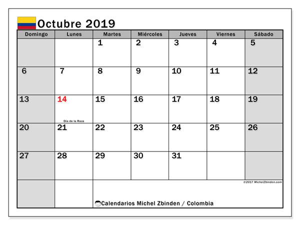 Calendario octubre 2019, con los días festivos en Colombia. Calendario para imprimir gratis.