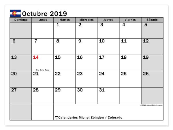 Calendario octubre 2019, con días feriados en Colorado. Calendario vacaciones y festivos para imprimir gratis.