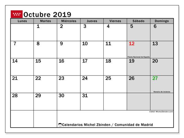 Calendario octubre 2019, con días feriados de la Comunidad de Madrid. Calendario para imprimir gratis con días festivos.