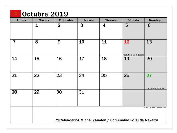Calendario octubre 2019, con días feriados de la Comunidad Foral de Navarra. Calendario para imprimir gratis con días festivos.