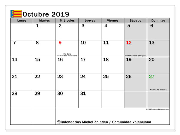 Calendario octubre 2019, con días feriados de la Comunidad Valenciana. Calendario para imprimir gratis con días festivos.
