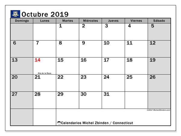 Calendario octubre 2019, con días feriados en Connecticut. Calendario para imprimir gratis con días festivos.
