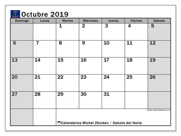 Calendario octubre 2019, con días feriados en Dakota del Norte. Calendario vacaciones y festivos para imprimir gratis.