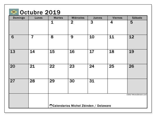 Calendario octubre 2019, con días feriados en Delaware. Calendario para imprimir gratis con días festivos.