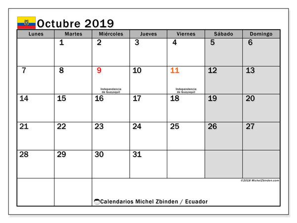 Calendario octubre 2019, con los días feriados para Ecuador. Calendario para el mes para imprimir gratis.