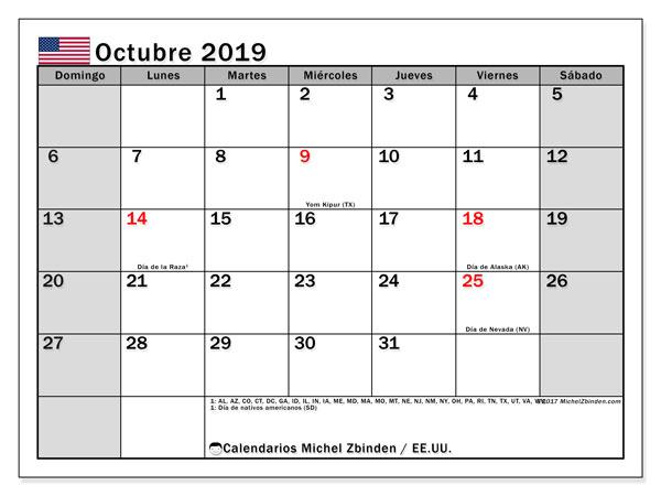 Calendario octubre 2019, con días feriados de EE.UU.. Calendario para imprimir gratis con días festivos.