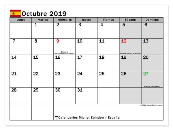Calendario octubre 2019, con días feriados en España. Calendario vacaciones y festivos para imprimir gratis.