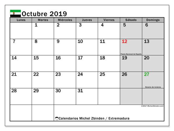 Calendario octubre 2019, con días feriados en Extremadura. Calendario para imprimir gratis con días festivos.