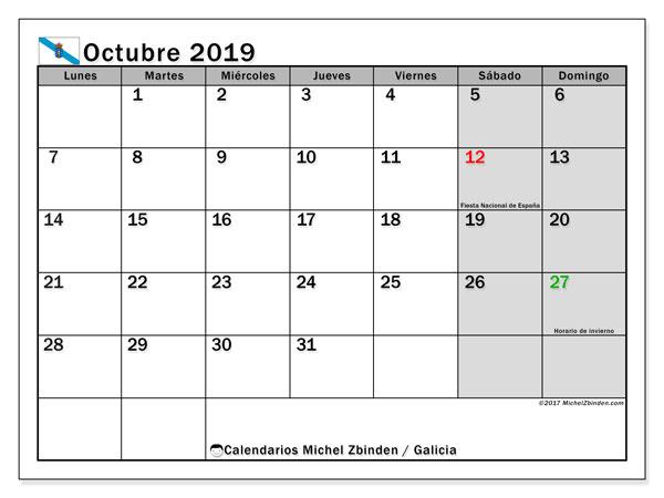 Calendario octubre 2019, con días feriados en Galicia. Calendario para imprimir gratis con días festivos.