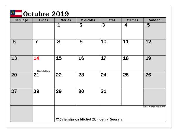 Calendario octubre 2019, con días feriados en Georgia. Calendario vacaciones y festivos para imprimir gratis.