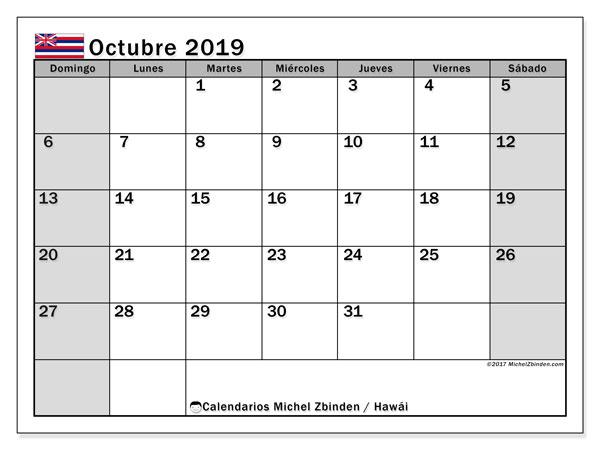 Calendario octubre 2019, con días feriados en Hawái. Calendario para imprimir gratis con días festivos.