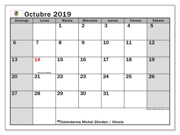 Calendario octubre 2019, con días feriados en Illinois. Calendario vacaciones y festivos para imprimir gratis.