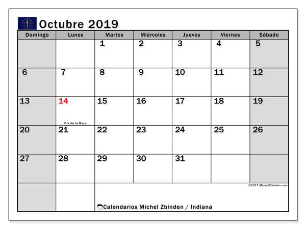 Calendario octubre 2019, con días feriados de Indiana. Calendario para imprimir gratis con días festivos.