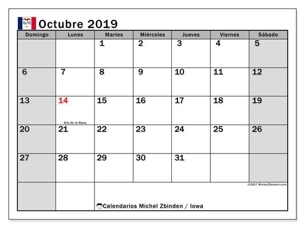 Calendario octubre 2019, con días feriados de Iowa. Calendario vacaciones y festivos para imprimir gratis.
