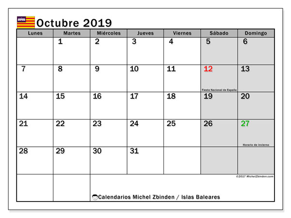 Calendario octubre 2019, con días feriados en las Islas Baleares. Calendario vacaciones y festivos para imprimir gratis.