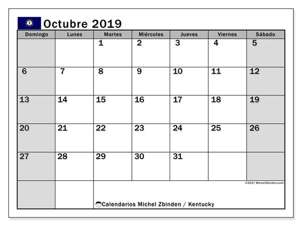 Calendario octubre 2019, con días feriados de Kentucky. Calendario vacaciones y festivos para imprimir gratis.