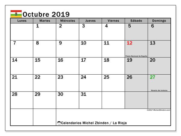 Calendario octubre 2019, con los días festivos de La Rioja. Calendario para el mes para imprimir gratis.