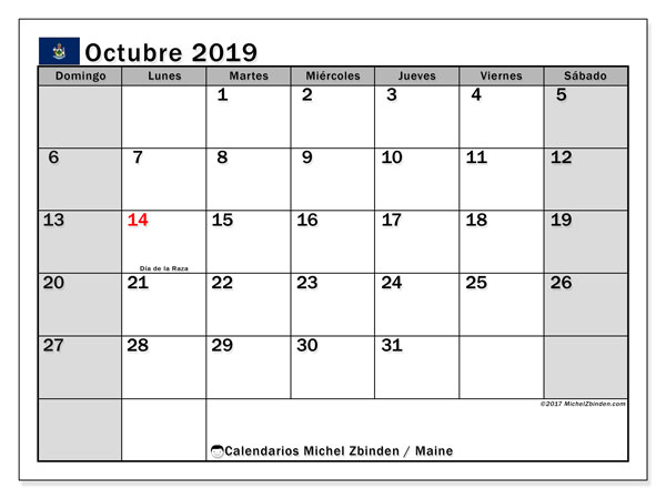 Calendario octubre 2019, con días feriados de Maine. Calendario vacaciones y festivos para imprimir gratis.