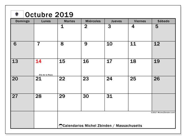 Calendario octubre 2019, con días feriados de Massachusetts. Calendario para imprimir gratis con días festivos.