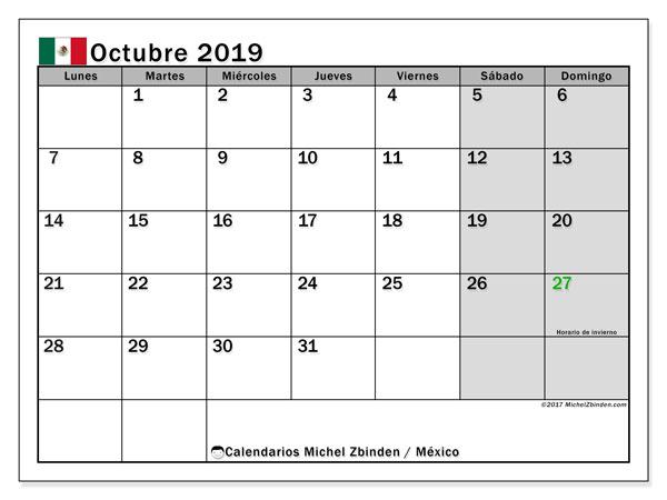 Calendario Octubre 2019 M 233 Xico Michel Zbinden Es