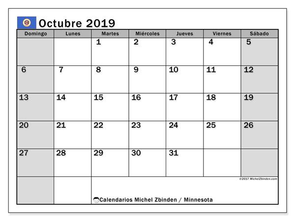 Calendario octubre 2019, con días feriados de Minnesota. Calendario para imprimir gratis con días festivos.
