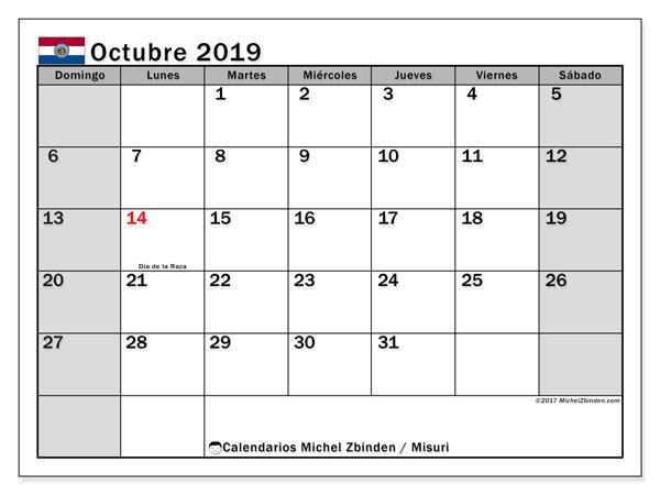 Calendario octubre 2019, con días feriados en Misuri. Calendario vacaciones y festivos para imprimir gratis.