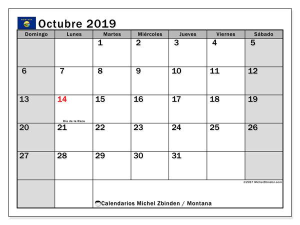 Calendario octubre 2019, con días feriados de Montana. Calendario para imprimir gratis con días festivos.