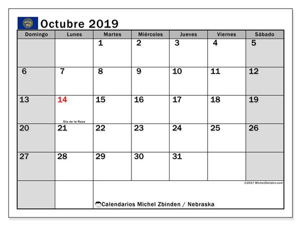 Calendario octubre 2019, con días feriados de Nebraska. Calendario para imprimir gratis con días festivos.