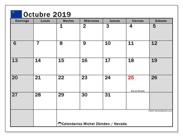 Calendario octubre 2019, con días feriados de Nevada. Calendario vacaciones y festivos para imprimir gratis.