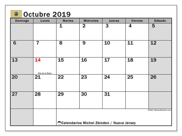 Calendario octubre 2019, con días feriados en Nueva Jersey. Calendario vacaciones y festivos para imprimir gratis.