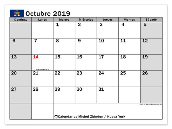 Calendario octubre 2019, con días feriados en Nueva York. Calendario vacaciones y festivos para imprimir gratis.