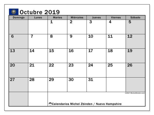 Calendario octubre 2019, con días feriados en Nuevo Hampshire. Calendario vacaciones y festivos para imprimir gratis.
