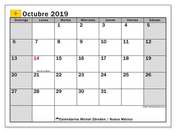 Calendario octubre 2019, con días feriados en Nuevo México. Calendario para imprimir gratis con días festivos.