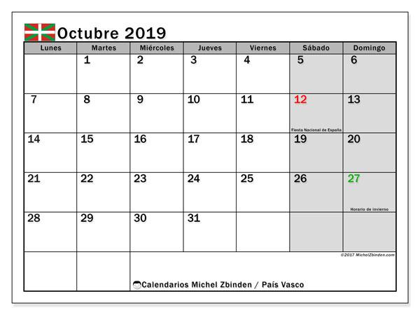 Calendario octubre 2019, con días feriados en el País Vasco. Calendario vacaciones y festivos para imprimir gratis.