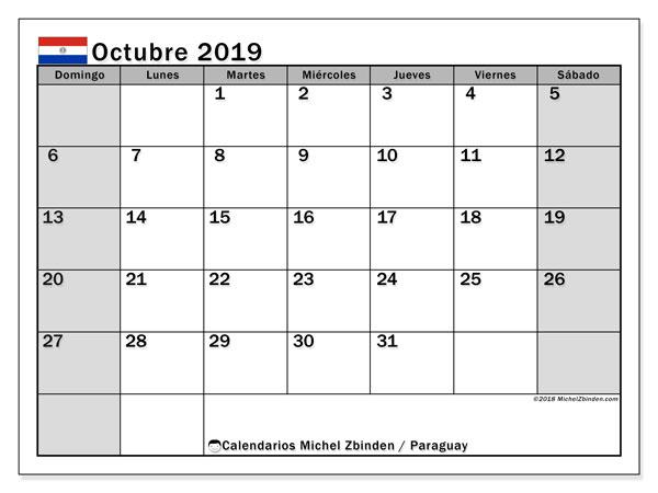 Calendario octubre 2019, con días feriados en Paraguay. Calendario para imprimir gratis con días festivos.