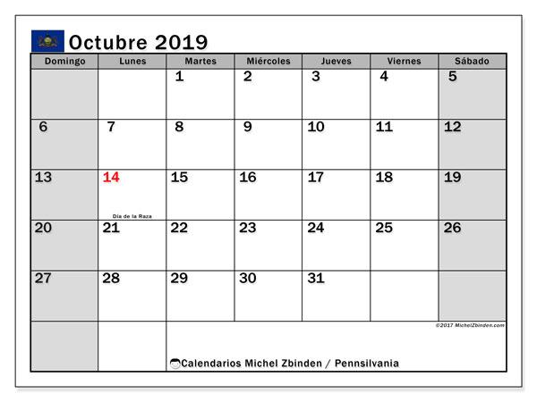 Calendario octubre 2019, con días feriados en Pennsilvania. Calendario para imprimir gratis con días festivos.