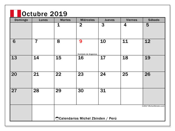 Calendario octubre 2019, con días feriados en Perú. Calendario vacaciones y festivos para imprimir gratis.