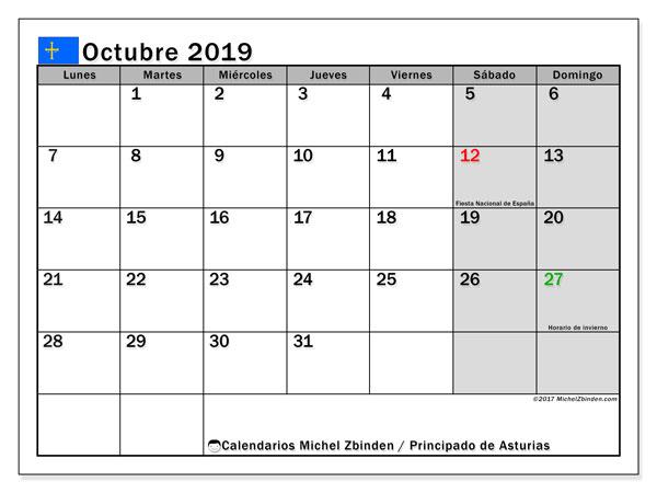 Calendario octubre 2019, con días feriados del Principado de Asturias. Calendario vacaciones y festivos para imprimir gratis.
