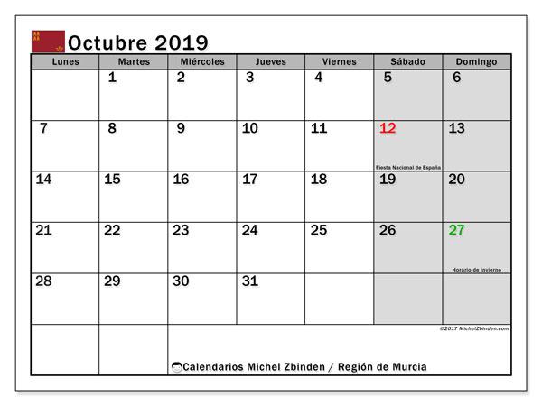Calendario octubre 2019, con días feriados en la Región de Murcia. Calendario vacaciones y festivos para imprimir gratis.